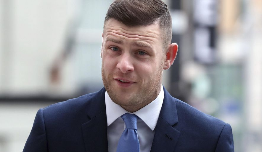 Soccer player Anthony Stokes arrives at Dublin's Circuit Criminal Court for a sentencing hearing for assaulting an Elvis impersonator in a nightclub, Wednesday Feb. 1, 2017. Blackburn Rovers soccer striker Anthony Stokes has received a two-year suspended sentence and paid 30,000 euros ($32,250) in restitution for his 2013 assault on a man in a Dublin nightclub. (Niall Carson/PA via AP)