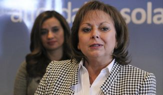 New Mexico Gov. Susana Martinez talks about the economic impact of a $37 million contract to install solar panels to power Facebook's new data center during a news conference in Albuquerque, N.M., on Wednesday, Feb. 1, 2017. New Mexico's largest electric utility is investing a total of $45 million in the 30-megawatt solar project, with most of that going to Albuquerque-based Affordable Solar for the installation of tens of thousands of panels. (AP Photo/Susan Montoya Bryan)