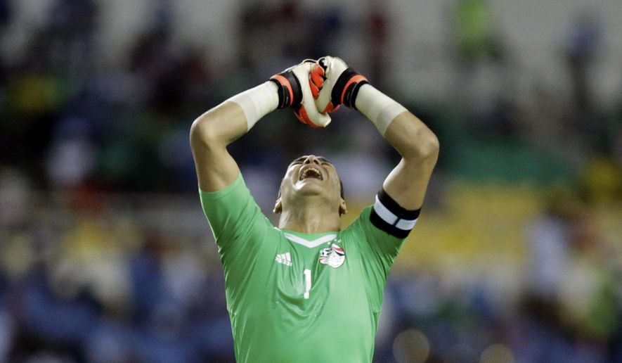 Egypt goalkeeper Essam El Hadary reacts during the African Cup of Nations semifinal soccer match between Burkina Faso and Egypt at the Stade de l'Amitie, in Libreville, Gabon, Wednesday, Feb. 1, 2017. (AP Photo/Sunday Alamba)