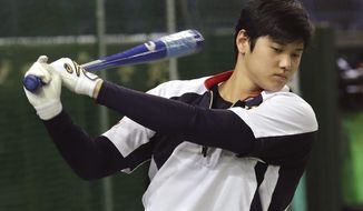 "In this Nov. 12, 2016 photo, Japan's designated hitter Shohei Otani swings during his team's batting practice prior to an international exhibition series baseball game against the Netherlands at Tokyo Dome in Tokyo. Otani says he will not pitch for Japan in next month's World Baseball Classic due to injury, although he may still hit. Otani, who is in Arizona where his team Nippon Ham Fighters are holding a spring camp, said Tuesday, Jan. 31, 2017: ""It would have been difficult in terms of getting ready in time. It's unfortunate but I won't be able to pitch in the WBC."" (AP Photo/Koji Sasahara)"