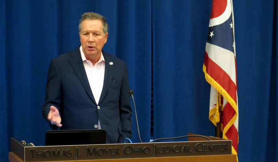 Gov. John Kasich (R-Ohio) is shown here at a Feb. 1, 2017 legislative forum. On Feb. 10, Mr. Kasich gave reprieves to eight death-row inmates in light of an ongoing court battle over the state's lethal injection procedure. (AP Photo/Andrew Welsh-Huggins)