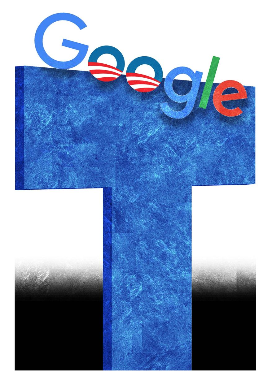 Illustration on Google and the Trump administration by Alexander Hunter/The Washington Times