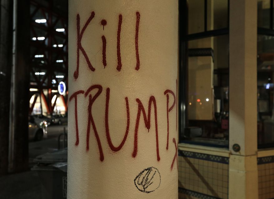 Graffiti left by protesters who were against a scheduled speaking appearance by Breitbart News editor Milo Yiannopoulos is seen on Wednesday, Feb. 1, 2017, in Berkeley, Calif. The event was cancelled due to size of the crowd and several fires set. (AP Photo/Ben Margot) ** FILE **