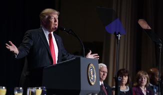 President Donald Trump speaks during the National Prayer Breakfast, Thursday, Feb. 2, 2017, in Washington. (AP Photo/Evan Vucci)
