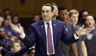 FILE - In this Nov. 29, 2016, file photo,Duke coach Mike Krzyzewski reacts during the second half of an NCAA college basketball game against Michigan State in Durham, N.C. Krzyzewski says he is returning this weekend to coach his Duke Blue Devils. The Hall of Fame coach made the announcement Thursday, Feb. 2, 2017, on his weekly radio show that he will make his return Saturday against Pittsburgh after back surgery kept him out for four weeks.(AP Photo/Gerry Broome, File) **FILE**