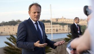 European Council President Donald Tusk speaks with the media prior to an EU summit outside his hotel in Valletta, Malta on Thursday, Feb. 2, 2017. European heads of state will meet in Malta on Friday for an informal summit to discuss migration and the future of the EU. (AP Photo/Virginia Mayo)