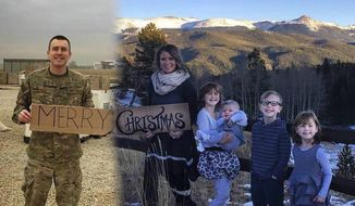 FILE - In this undated file photo montage, Brandon Sistrunk, left, poses in southwest Asia and his wife, Ashley, and kids pose in Colorado Springs, Colo. After seeing her friends' family Christmas photos, Ashley, wanted to make sure Brandon was included in theirs. So, she had Brandon take a photo on base. After putting the pictures together digitally, she had her family Christmas photo. Brandon Sistrunk returned home to Colorado on Feb. 1, 2017. (Courtesy of Ashley Sistrunk via AP, File)