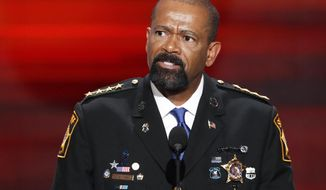 FILE - In this July 18, 2016 file photo, Milwaukee County Sheriff David Clarke speaks during the Republican National Convention in Cleveland. Clarke earned more than $105,000 in speaking fees in 2016 as he became nationally known as one of the most vocal supporters of President Donald Trump. The figure nearly quadrupled the amount he earned in 2015 for speaking engagements. (AP Photo/J. Scott Applewhite, File)