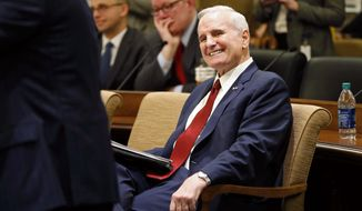 "FILE - In this Jan. 24, 2017, file photo, Minnesota Gov. Mark Dayton smiles as he waits to brief the media on his state budget in St. Paul, Minn. Dayton, who collapsed Monday evening while delivering his State of the State address, announced at the briefing that he has prostate cancer. Mayo Clinic spokesman Karl Oestreich said Thursday, Feb. 2, 2017, that Dayton's cancer hasn't spread beyond his prostate and is curable. He says Dayton should be able to continue serving as governor ""without significant interruption."" (AP Photo/Jim Mone, File)"