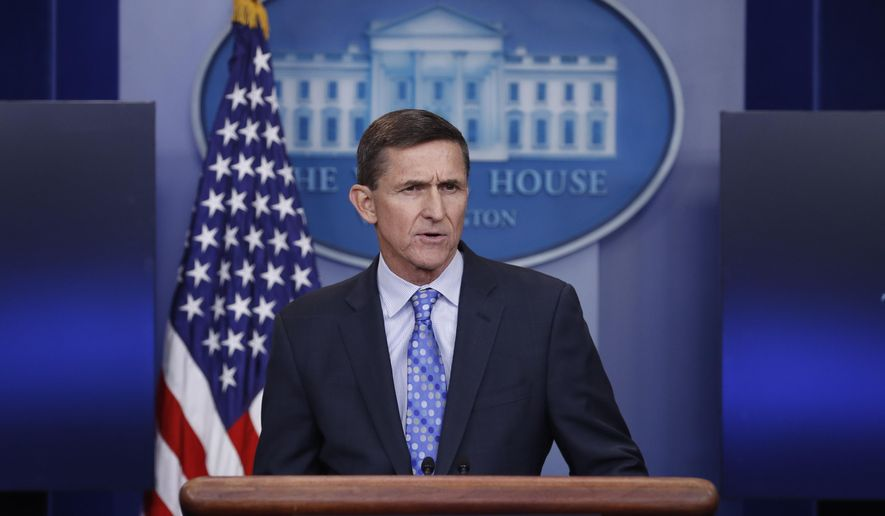 National Security Adviser Michael Flynn speaks during the daily news briefing at the White House, in Washington, Wednesday, Feb. 1, 2017. (AP Photo/Carolyn Kaster) ** FILE **