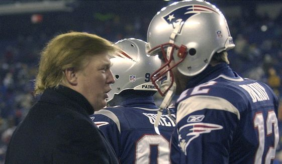 Donald Trump, left, stops to talk to New England Patriots quarterback Tom Brady prior to the start of the game at Gillette Stadium, Saturday, Jan. 10, 2004, in Foxborough, Mass., where the Patriots will play the Tennessee Titans in a AFC divisional playoff game. (AP Photo/Elise Amendola) **FILE**
