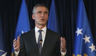 NATO Secretary General Jens Stoltenberg gestures during a press conference in Kosovo's capital Pristina on Friday, Jan. 3, 2017. NATO Secretary General Jens Stoltenberg has joined the international community calling on Kosovo and Serbia to normalize their ties. Stoltenberg on Friday is a one-day visit to Kosovo where he meet with local senior officials. (AP Photo/Visar Kryeziu)