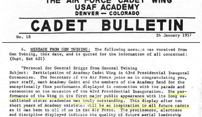 U.S. Air Force Academy memo regarding the 1957 Inaugural Day parade.