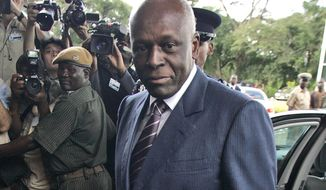 FILE - In this file photo dated April 12, 2008,  Angola's President Jose Eduardo dos Santos arrives at the Mulungushi International Conference Center in Lusaka, Zambia.  dos Santos announced Friday Feb. 3, 2017, in an address to his ruling MPLA party that he will not run in elections scheduled for August 2017, ending his 38 years in power. (AP Photo/Themba Hadebe, FILE)