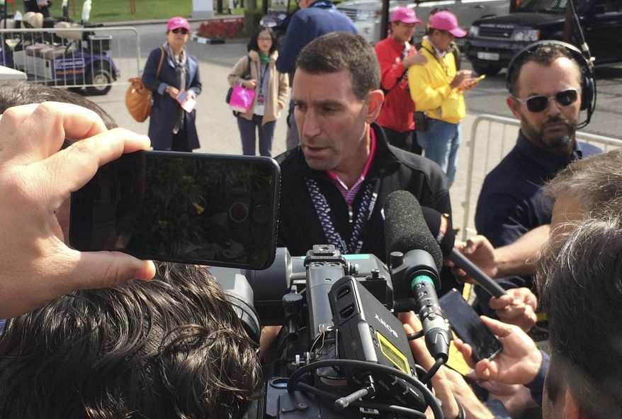 Tiger Woods manager, Mark Steinberg, talks to the reporters as he announces Woods withdrawal from the Dubai Desert Classic golf tournament in Dubai, United Arab Emirates, Friday, Feb. 3, 2017. Woods has withdrawn from the Dubai Desert Classic with an apparent back injury after shooting an opening-round 5-over 77. (AP Photo/Kamran Jebreili)