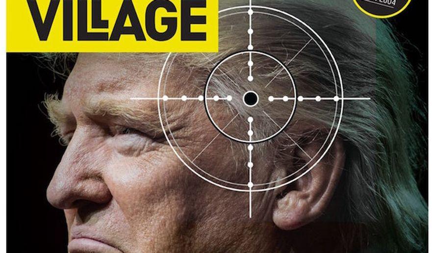 The newest cover issue of Village, a Dublin-based current affairs magazine, is causing backlash for depicting President Trump with a gun crosshairs on his head. (Twitter/@VillageMagIRE)