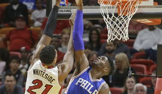 Miami Heat center Hassan Whiteside (21) shoots over Philadelphia 76ers forward Nerlens Noel (4) in the first half of an NBA basketball game, Saturday, Feb. 4, 2017, in Miami. (AP Photo/Alan Diaz)