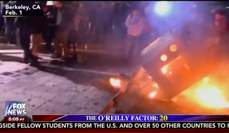 """A still image from the Feb. 3, 2017 edition of """"The O'Reilly Factor"""" on Fox News Channel showing damage from a Feb. 1 riot at the University of California, Berkeley. (YouTube)"""