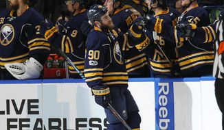 Buffalo Sabres forward Ryan O'Reilly (90) celebrates his goal during the second period of an NHL hockey game against the Ottawa Senators, Saturday Feb. 4, 2017, in Buffalo, N.Y. (AP Photo/Jeffrey T. Barnes)