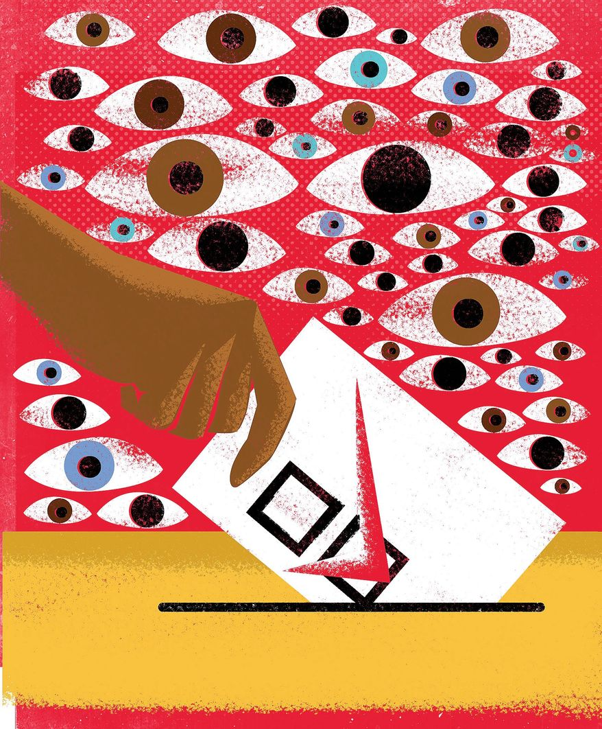 Illustration on the need for voter ID laws by Alexander Hunter/The Washington Times