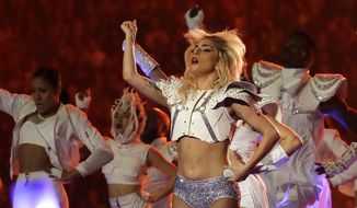 Lady Gaga performs during the halftime show of the NFL Super Bowl 51 football game between the New England Patriots and the Atlanta Falcons Sunday, Feb. 5, 2017, in Houston. (AP Photo/Patrick Semansky)