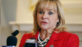 FILE - In this Sept. 13, 2016, file photo, Oklahoma Gov. Mary Fallin speaks at a news conference in Oklahoma City. Fallin is scheduled to deliver her state of the state address Monday, Feb. 6, 2017, on the first of Oklahoma Legislature. (AP Photo/Sue Ogrocki File)