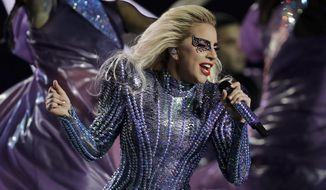 Singer Lady Gaga performs during the halftime show of the NFL Super Bowl 51 football game between the New England Patriots and the Atlanta Falcons, Sunday, Feb. 5, 2017, in Houston. (AP Photo/Darron Cummings)