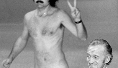 The Oscar Streaker  Oscar presenter David Niven isn't quite sure what's happening behind him as a streaker crosses the stage near the end of the 1974 Academy Awards show in Los Angeles, April 2, 1974.  He later identified himself as Robert Opel.  (AP Photo)