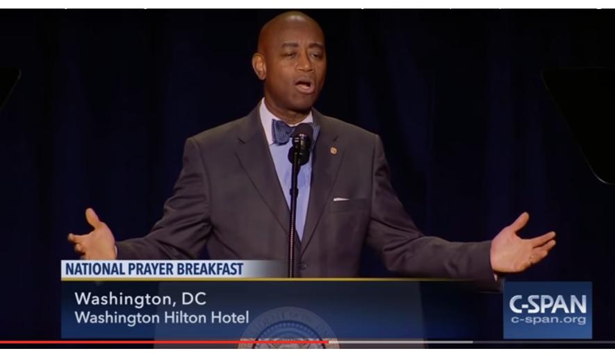 U.S. Senate Chaplain Dr. Barry Black full remarks at National Prayer Breakfast (Screen-shot from C-SPAN video embedded below)