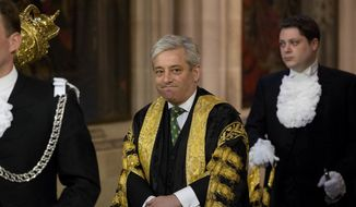 This Wednesday, June 4, 2014, file photo shows Britain's Speaker of the House of Commons John Bercow as he walks through Central Lobby before Britain's Queen Elizabeth II delivered the Queen's Speech at the State Opening of Parliament at the Palace of Westminster in London. The Speaker of Britain's House of Commons says he strongly opposes letting U.S. President Donald Trump address Parliament during a state visit to the U.K. (AP Photo/Matt Dunham, Pool, File)