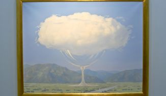 """One of the largest and most unusual paintings by surrealist master Rene Magritte is shown at New York's Christie's auction house, Monday Feb. 6, 2017. """"La Corde Sensible"""" (""""Heartstrings"""") will be up for sale with an estimated price of 14 million pounds ($17.5 million) in London on Feb. 28. (AP Photo/Bebeto Matthews)"""