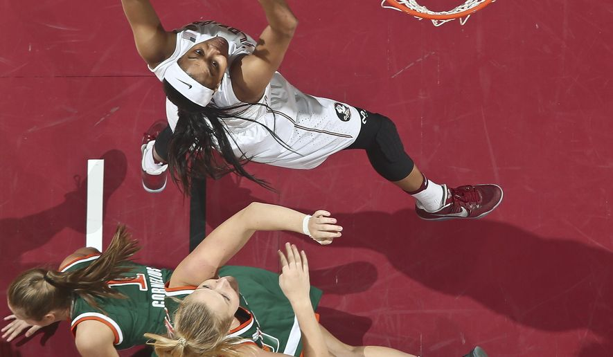 Florida State forward Ivey Slaughter (23) goes for a layup as Miami guard Laura Cornelius (1) hits the floor in the first quarter of an NCAA college basketball game in Tallahassee, Fla., Monday, Feb. 6, 2017. (AP Photo/Phil Sears)