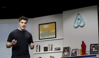 In this April 19, 2016, file photo, Airbnb co-founder and CEO Brian Chesky speaks during an event in San Francisco. (AP Photo/Jeff Chiu, File) **FILE**