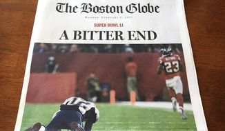 "This Monday, Feb. 6, 2017, photo provided by Mary Tivnan shows a front page of an early edition of The Boston Globe in North Fort Myers, Fla. The front page of some early editions of New England's largest newspaper ran the headline, ""A Bitter End"" over an image of fallen New England Patriots quarterback Tom Brady, suggesting the Patriots lost to the Atlanta Falcons in Super Bowl 51. Boston-area editions ran the headline ""Win For The Ages"" and showed a triumphant Brady holding up the championship trophy after the Patriots mounted a furious rally and won 34-28 in overtime. (Mary Tivnan via AP)"