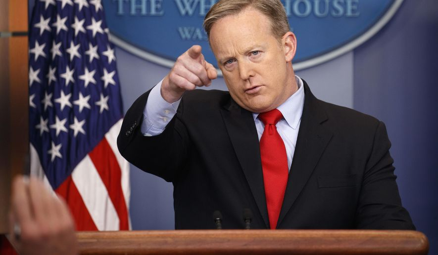 White House press secretary Sean Spicer speaks during the daily press briefing at the White House in Washington on Friday, Feb. 3, 2017. (Associated Press) **FILE**