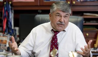 In this Feb. 1, 2016, photo, AFL-CIO President Richard Trumka speaks during an interview with The Associated Press in Washington. (AP Photo/Andrew Harnik) ** FILE **