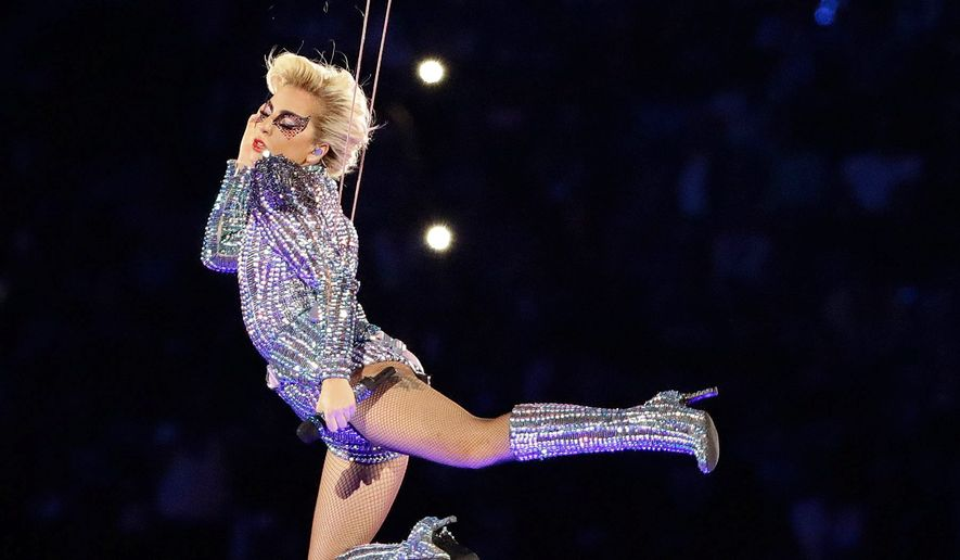 Lady Gaga performing at Superbowl fifty-one     Associated Press photo