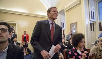 Sen. Richard Blumenthal, D-Conn. arrives for a news conference on Capitol Hill in Washington, Tuesday, Feb. 7, 2017, to accept petitions calling for the Senate to reject Attorney General-designate Sen. Jeff Sessions, R-Ala. (AP Photo/Andrew Harnik) ** FILE **