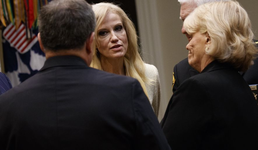 Kellyanne Conway, senior adviser to President Donald Trump, arrives for a meeting with county sheriffs in the Roosevelt Room of the White House in Washington, Tuesday, Feb. 7, 2017. (AP Photo/Evan Vucci)