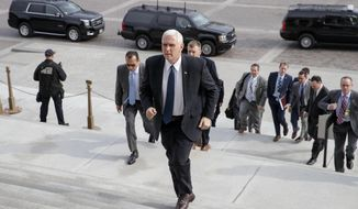 Vice President Mike Pence arrives at the Senate on Capitol Hill in Washington, Tuesday, Feb. 7, 2017. to be ready to cast the tie-breaking vote for Education Secretary-designate Betsy DeVos. (AP Photo/J. Scott Applewhite)