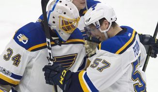 St. Louis Blues left wing David Perron (57) congratulates goalie Jake Allen (34) on his shutout as the Blues defeated the Ottawa Senators 6-0 during an NHL hockey game Tuesday, Feb. 7, 2017, in Ottawa, Ontario. (Adrian Wyld/The Canadian Press via AP)