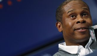 Denver Broncos head coach Vance Joseph makes a point during a news conference to showcase the new coaching hires Tuesday, Feb. 7, 2017, at the team's headquarters in Englewood, Colo. The new coaches said that the goal is to build on the strengths of the team's defense while enhancing the Broncos' anemic offense. (AP Photo/David Zalubowski)