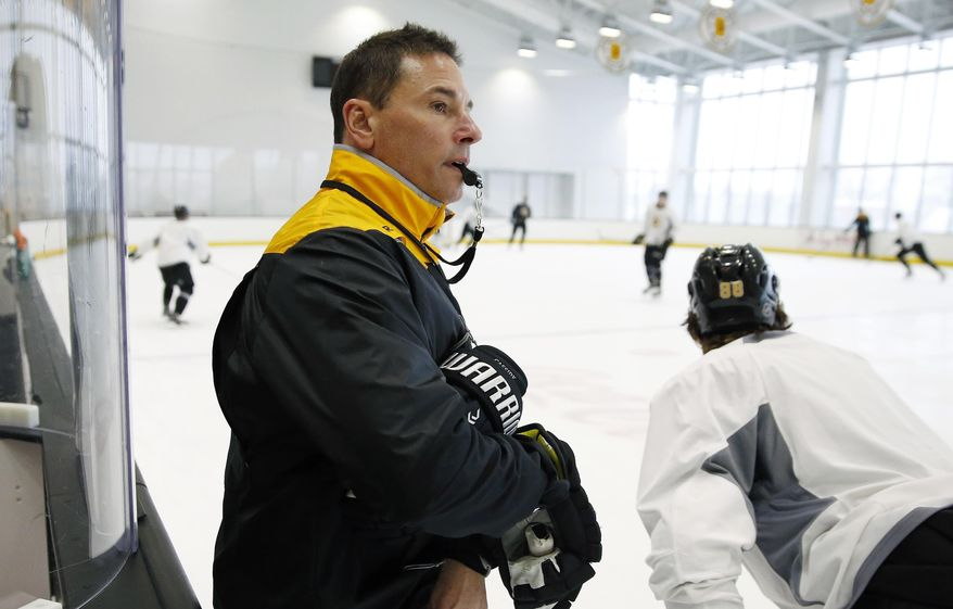 Bruce Cassidy watches Boston Bruins hockey players practice in Boston, Tuesday, Feb. 7, 2017. Cassidy was named interim coach after the Bruins fired Stanley Cup-winning head coach Claude Julien on Tuesday. (AP Photo/Michael Dwyer)