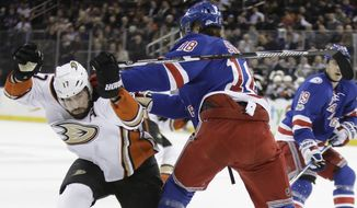 Anaheim Ducks' Ryan Kesler (17) evades New York Rangers' Marc Staal (18) during the first period of an NHL hockey game Tuesday, Feb. 7, 2017, in New York. (AP Photo/Frank Franklin II)
