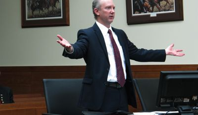 Defense attorney Robert Essex argues against a request by prosecutors to bring his client, Charles Hays, to trial for the 1972 nonfatal shooting of a Columbus police officer, on Tuesday, Feb. 7, 2017, in Columbus, Ohio. Essex said the state violated Hays rights to a speedy trial by letting almost 45 years pass before moving forward with the case. Essex also said Hays is in poor health and might not be able to stand the rigors of a trial. (AP Photo/Andrew Welsh-Huggins)