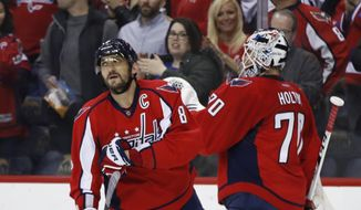 Washington Capitals left wing Alex Ovechkin (8) of Russia is congratulated by teammate goalie Braden Holtby (70) after scoring a goal during the first period of an NHL hockey game agains the Carolina Hurricanes in Washington, Tuesday, Feb. 7, 2017. (AP Photo/Manuel Balce Ceneta)