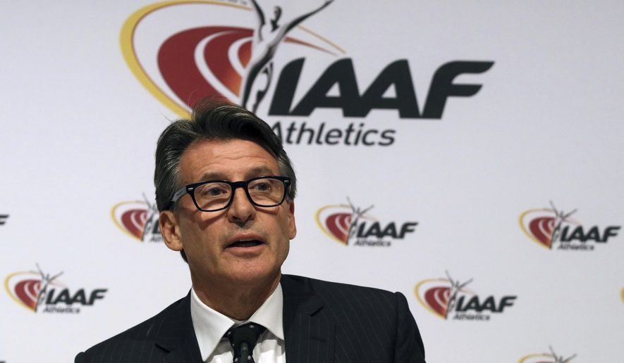 """FILE - In this June 17, 2016 file photo, IAAF President Sebastian Coe speaks during a news conference after a meeting of the IAAF Council at the Grand Hotel in Vienna, Austria. The IAAF is upholding its global ban on Russian athletes and freezing all nationality switches. Following a council meeting in Monaco on Monday, Feb. 6, 2017, Coe said Russian athletics should not expect """"full reinstatement"""" before November. (AP Photo/Ronald Zak, File)"""