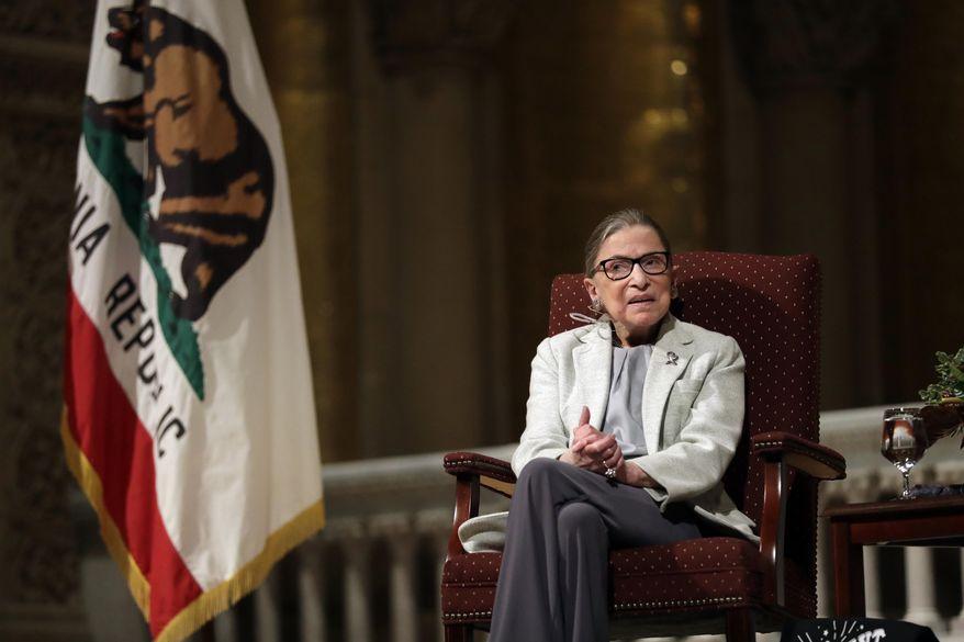 U.S. Supreme Court Justice Ruth Bader Ginsburg speaks during a visit to Stanford University, Monday, Feb. 6, 2017, in Stanford, Calif. (AP Photo/Marcio Jose Sanchez)