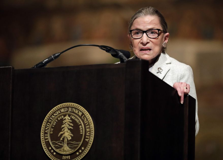 U.S. Supreme Court Justice Ruth Bader Ginsburg speaks during a visit to Stanford University, Monday, Feb. 6, 2017, in Stanford, Calif. (AP Photo/Marcio Jose Sanchez)