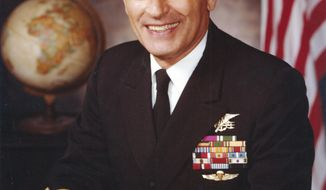 """This circa 1975 portrait by the U.S. Navy shows Adm. Richard """"Dick"""" Lyon. Lyon, the first Navy SEAL to rise to the rank of admiral, has died. He was 93. Lyon died Friday, Feb. 3, 2017, surrounded by family and friends at his beachfront home in Oceanside, Calif., north of San Diego. He served four decades in the Navy, including World War II and the Korean War. (U.S. Navy via AP)"""